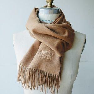 Hermes camel tan wool muffler